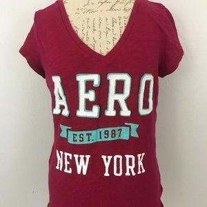 Aeropostle V-Neck Cranberry Shirt sz XL